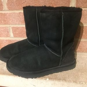 UGG Australia Shoes - Ugg Classic Short Black Sheepskin Boots Women's 7
